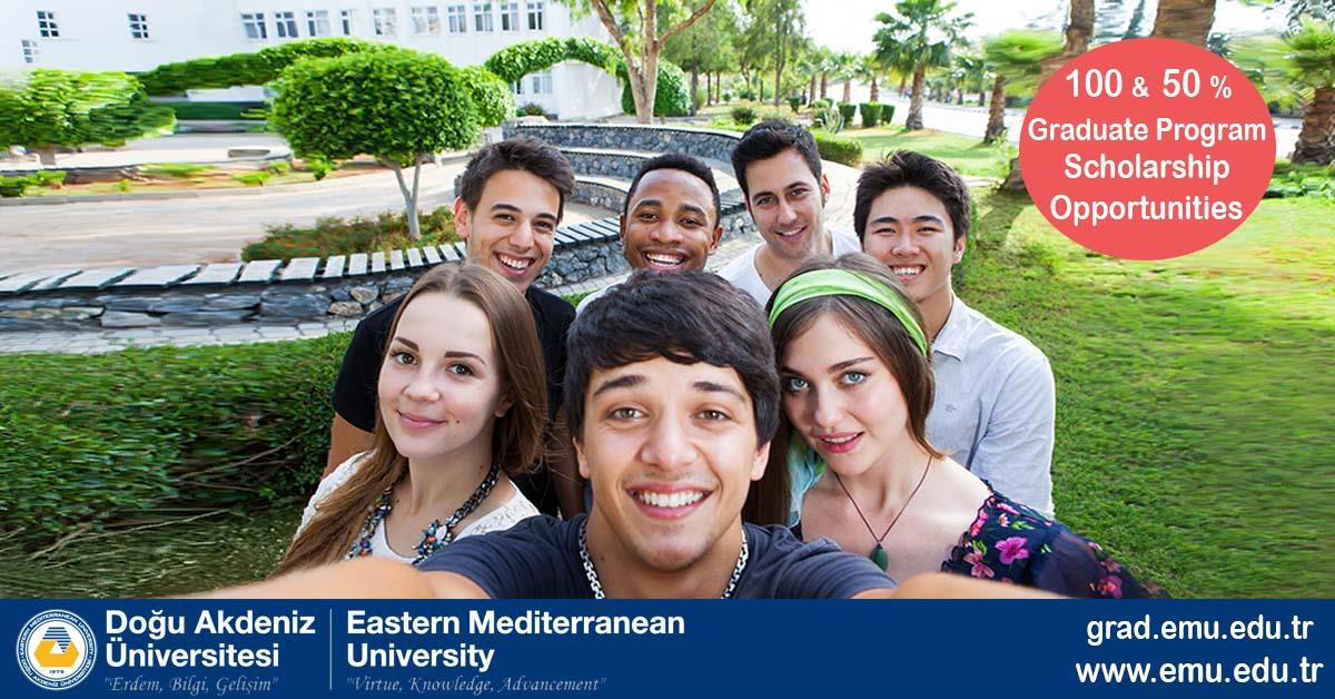 100% and 50% Scholarship Opportunities for PhD programs and 50% Scholarships for Master's Programs for International Students in Eastern Mediterranean University: Scholarship application deadline: 14 January 2018